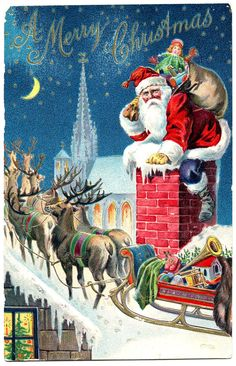 Vintage Graphic - Gorgeous Santa with Reindeer - The Graphics Fairy
