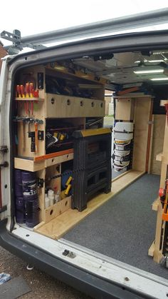 I made this rack outside of the van and fitted it in mainly so I knew I could move it when changing vans in the future. timber channel though carpet is where I can slide ten boards in and secure using hook points fitted on back on racking sides. Trailer Shelving, Van Shelving, Trailer Storage, Truck Storage, Tool Storage, Shelves, Van Organisation, Trailer Organization, Work Trailer