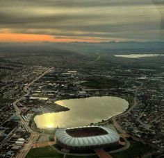 Nelson Mandela Stadium and North End Lake. Port Elizabeth, Nelson Mandela, Fast Cars, Airplane View, South Africa, Cape, Hunting, River, Outdoor