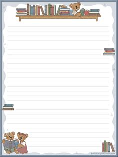 Bear and books, could be used for a child to use, free Free Printable Stationery, Printable Paper, Kids Planner, Notes Template, Cute Notes, Notebook Paper, Journal Paper, Bullet Journal Ideas Pages, Writing Paper