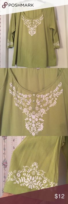 Karen Scott top Tag removed for comfort . Worn very little. Pretty shade of green with decorations at neck and sleeves. Sleeves are three qtr. Very comfy  Karen Scott Tops
