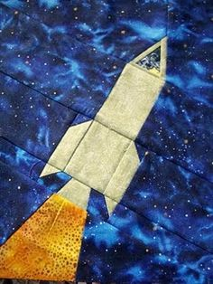 My own rocket design for the long distance quilting bee.