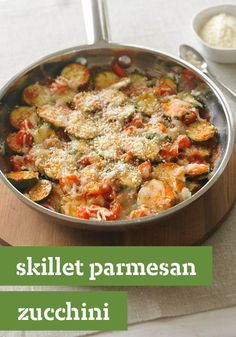 Skillet Parmesan Zucchini – Zucchini and other garden veggies are skillet cooked until crisp-tender before being topped with mozzarella and Parmesan. This recipe is so easy and so good.