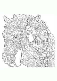 mandala pferdekopf mit blumen im haar | einhorn zum