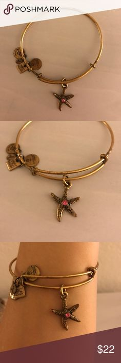 """Alex and Ani Arms of Strength Starfish Bangle Retired Alex and Ani """"Arms of Strength"""" Charity by Design starfish bangle with pink crystal center. Proceeds when I purchased the bangle supported Breast Cancer research. Light tarnishing. Alex and Ani Jewelry Bracelets"""