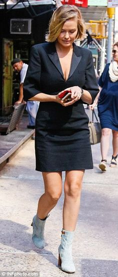 Lara Bingle (in Louis Vuitton boots) - In New York City. (4 August 2015)