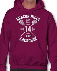 de58ec20fa NEW Burgundy Lahey 14 Hoodie Hooded Sweatshirt Lacrosse Beacon Hills Teen  Wolf Stiles 24 Stilinski 24 Hale 00 McCall 11