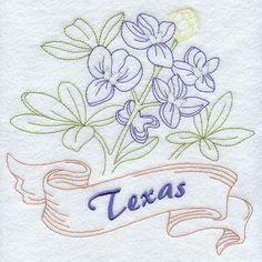 Texas - Bluebonnet (Redwork)