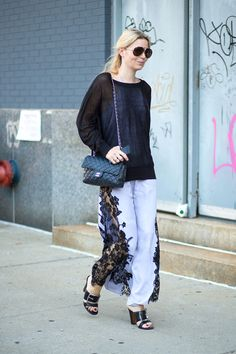 White Pants With Black Lace Inserts. New York Fashion Week Spring 2015. #streetchic #fashion #style