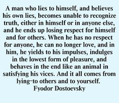 ...And it all comes from lying – to others and to yourself. | Fyodor Dostoevsky, The Brothers Karamazov | Be Truthful to Yourself and to Others
