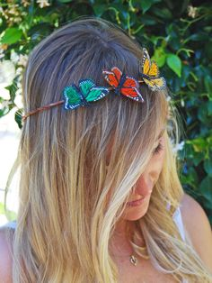 Crown of Butterflies-Hair Accessory-Butterfly Halo-Wedding Hair. $25.00, via Etsy.
