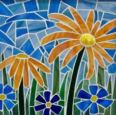 Sweet Little Flowers - Delphi Stained Glass Mosaic Garden Art, Mosaic Flower Pots, Mosaic Pots, Mosaic Glass, Pebble Mosaic, Mosaic Wall, Stained Glass Designs, Mosaic Designs, Mosaic Patterns