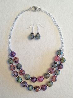 Alley Cat Jewelry Studios Gemstone - crackle agate beaded necklace and earrings set