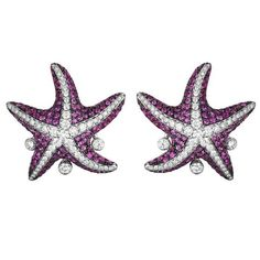 Maggioro White Gold Pink Sapphire Starfish Earrings | From a unique collection of vintage more earrings at https://www.1stdibs.com/jewelry/earrings/more-earrings/