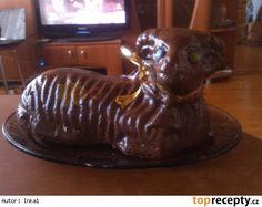 Velikonoční beránek s vaječným koňakem Nutella, Lion Sculpture, Food And Drink, Pudding, Easter, Baking, Cake, Desserts, Decor