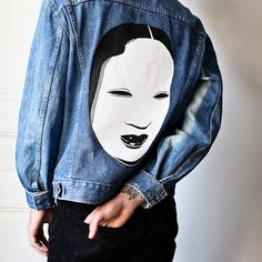 One of my hand-painted denim jackets, for sale on @mauditcaillou next week.