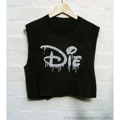Top: disney die t-shirt rock black crop s ❤ liked on Polyvore featuring tops, t-shirts, shirts, black tee, black t shirt, black crop top, rock shirts and black top