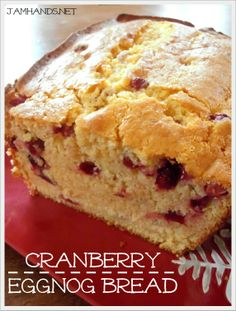 Jam Hands: Cranberry Eggnog Bread (One of the best things I have ever baked in my life) Loaf Recipes, Bread Machine Recipes, Baking Recipes, Dessert Recipes, Recipes Using Eggnog, Cookie Recipes, Christmas Bread, Christmas Desserts, Christmas Jam