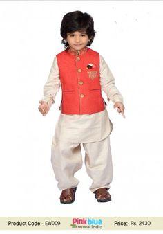 Cute off white kurta pajama with red party wear jacket for baby boy Kids Kurta Pajama, Boys Kurta, Kids Indian Wear, Kids Ethnic Wear, Boys Party Wear, Kids Wear, Baby Boy Fashion, Kids Fashion, Baby Boy Outfits