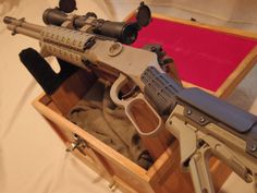 Mossberg SPX Lever Action Centerfire Rifle in custom coated in FDE. Zombie Weapons, Weapons Guns, Guns And Ammo, Arsenal, Survival, Tac Gear, Custom Guns, Cool Guns, Awesome Guns