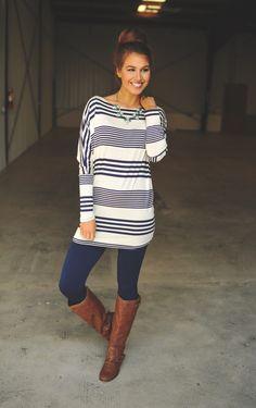 Dottie Couture Boutique - Navy Striped Tunic, $36.00 (http://www.dottiecouture.com/navy-striped-tunic/)