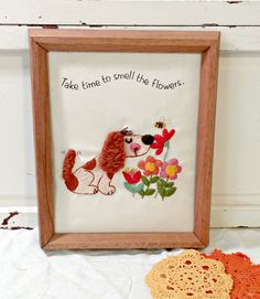 Vintage Embroidery | Adorable Little Dog by LittleBohoCottage on Etsy $13.99