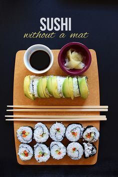 10 sushi recipes- would love to get a sushi mat some time!