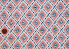 VINTAGE FEEDSACK FABRIC ~ Fab Blue Roses in Pink Diamonds Cotton Flour Sack