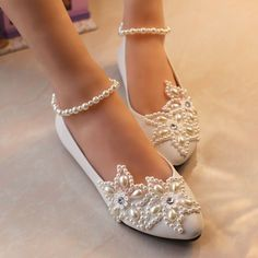 Mary Janes Pearl Wedding Formal Party Evening Dress Flat shoes in Clothing, Shoes & Accessories, Women's Shoes, Heels | eBay #weddingshoes