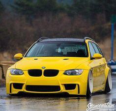 BMW E91 3 series Touring yellow deep dish stance slammed. Click to see more - www.topkartinki.com - http://goo.gl/V9IQTy