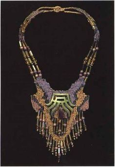 Necklaces Based on Art Deco Motifs and Designs Fiber Art Jewelry, Textile Jewelry, Seed Bead Jewelry, Macrame Jewelry, Metal Jewelry, Jewelry Art, Pin Weaving, Card Weaving, Artisan Jewelry