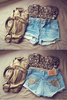 love studded bandeau and high waisted shorts!