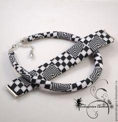 """Комплект """"Зигзаг удачи"""" - браслет,ожерелье,жгут из бисера,жгут вязанный из бисера"""