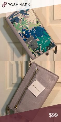 """Vera Bradley Leather Anna Wristlet Camofloral Gray Brand New Tags On  This Vera Bradley Anna Wristlet in Camofloral Gray works equally as good as an accessory when you are dressing up as when you are dressing down. Inside the wristlet there is a spacious compartment with 6 card slips and a bill pocket. There is 1 zip pocket on the back of the exterior of the wristlet. There is a zip closure.  Comes with dust cover.  Dimensions 9"""" w x 5"""" h x 1"""" d with 6"""" wrist strap Vera Bradley Bags Clutches…"""