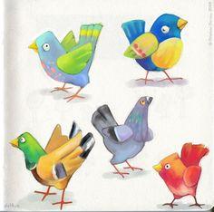 Cute birds by Delphine Doreau