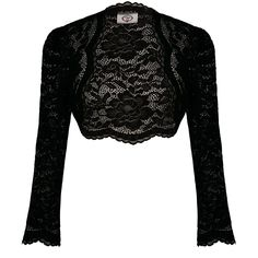 Womens Black Gothic Steampunk Romantic Floral Lace Evening Bolero Shrug Top
