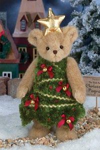 Bearington Bears - Ella Evergreen Christmas bear with star and Christmas Tree - 16 Inches Babies First Christmas, Christmas Love, Christmas Colors, Christmas Decorations, Xmas, Christmas Bells, Vintage Teddy Bears, Cute Teddy Bears, Tree Costume