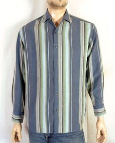 68ccc9d31d euc Tommy Bahama Muted Tone Striped Button Down Shirt Tencel Lyocell relax M