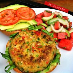 From Ecsince80 & fitmencook. Minus bun, totally Paleo! Shrimp Burger Patty 1 .5 pounds of shrimp cleaned and large chopped 1/8cup red bell minced 1/8 cup green bell minced 1/8 cup chopped celery 1/8 cup chopped onion 2 Tbl chopped cilantro 1 Tbl minced garlic 1 whole egg 1 Tbl sliced green onion Salt and Pepper Place shrimp in food processor & pulse until meat is consistent to ground meat Place mixture into a mixing bowl & add all other ingredients. Mix by hand. Form patty and cook on… Shrimp Burger, Watermelon Salad, Yummy Food, Tasty, Whole Eggs, Cafe Menu, Ground Meat, How To Eat Paleo, 5 Pounds