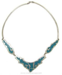 Vintage Inlaid Turquoise Alpaca Mexico Necklace