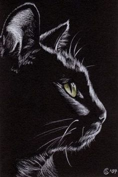 Black CAT Sunshine 4 kitten Halloween chat noir drawing painting Sandrine Curtiss Art Limited Edition PRINT ACEO #CatDrawing