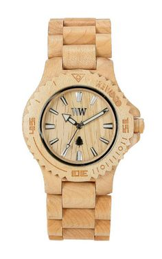 """This Beige 'Date' Watch is set in maple, which is best known for its use in smoke houses, culinary arts, and musical instruments. Your WeWood timepiece may vary slightly in color depending on season and age of the wood selected. Face is 1 9/16"""" x 2"""" x 1/2"""" (42mm x 12.75mm). Band is 3/4"""" (222mm)."""