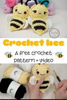 How to crochet an amigurumi bee - free pattern and video tutorial - - Now you can make a cute and easy amigurmi crochet bee! This bee is very quick and easy to crochet. A free pattern and video tutorial. Crochet Simple, Crochet Bee, Crochet Baby Toys, Kawaii Crochet, Crochet Amigurumi Free Patterns, Crochet Animal Patterns, Easter Crochet, Cute Crochet, Crochet For Kids