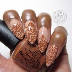 Henna Nails manicure with Morgan Taylor New School Nude for the base and OPI A Piers To Be Tan stamping using MoYou Explorer 03
