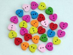 20 Heart Wooden Buttons