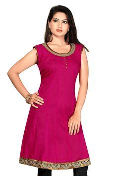 Pink Cotton Silk Umbrella Cambric Kurtis With Short Sleeves