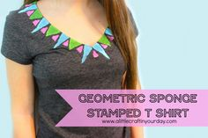 DIY Geometric Sponge Stamped T-shirt
