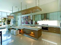 modern island kitchen design using stainless steel - kitchen photo