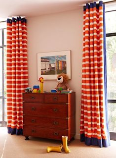 Anne Hepfer Designs -boys striped drapes, blue and orange, blue and floor to ceiling boys drapes