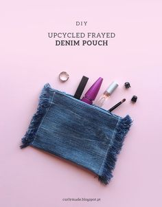 Curly Made - DIY Upcycled Frayed Denim Pouch